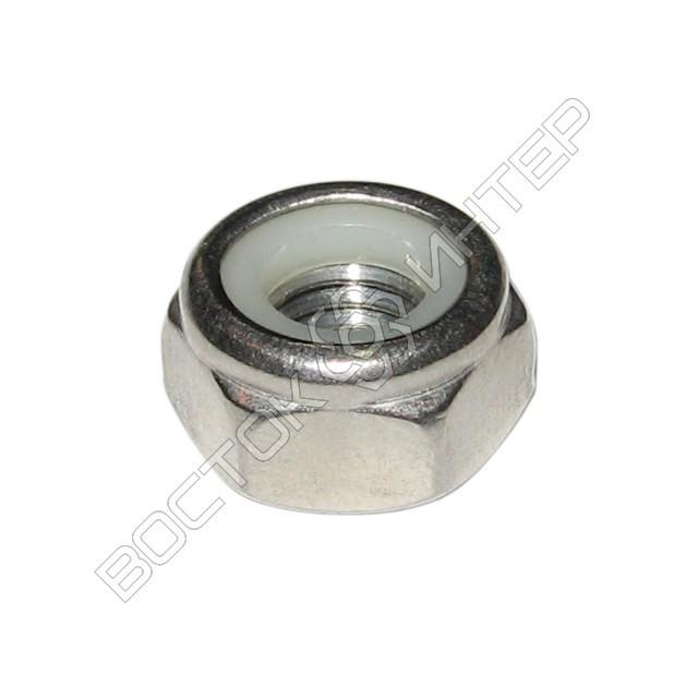 Гайка нержавеющая DIN 985 шестигранная низкая самоконтрящаяся с нейлоновым кольцом, фото 1